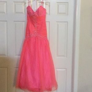 Studio 17 coral trumpet gown pageant prom